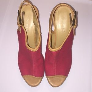 Nine West Shoes - Nine West cork heel open-toed wedge red size 6 1/2